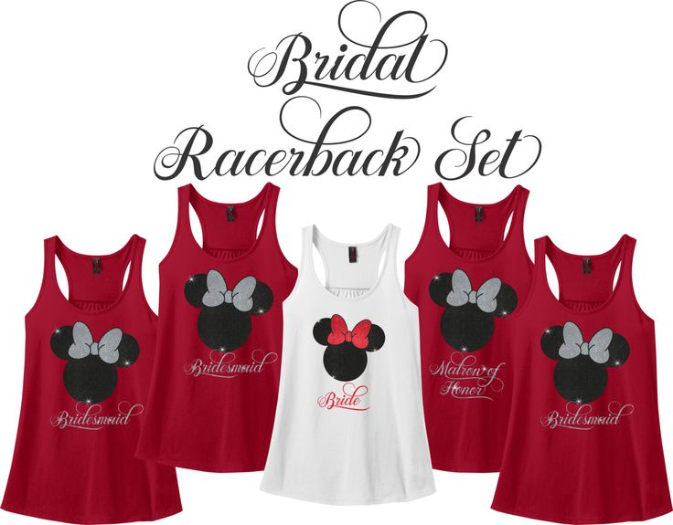 Minnie Mouse Bridal Party Racerback Set, Wedding Party Tank Set, Bride, Bridesmaid, Bridal Party Set, Bachelorette Party Tank Set, Racerback by TCXpress on Etsy