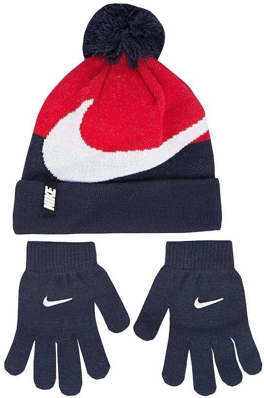 a3156f8b5 Details about Boys Nike Hat & Gloves Set Youth 8-20 Gray Crimson ...