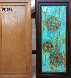 Before & After Cabinet Door with Modern Masters Metal Effects and Embossed Stenciling | Project by Artistic Home Studio