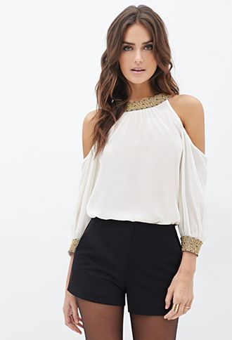 Beaded Chiffon Cutout Blouse | FOREVER21 - 2000056903
