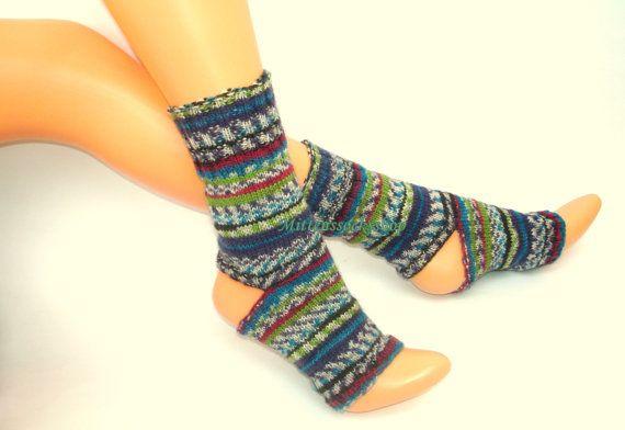 Yoga socks.Hand knitted yoga socks.Yoga socks from multicolor sock yarn.Elegant and stylish yoga socks.Striped yoga socks.Gift idea.