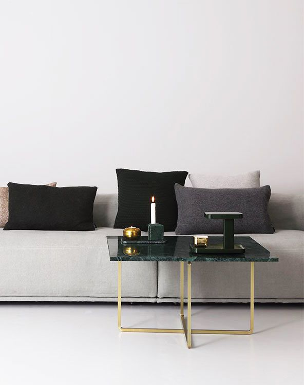 Our Ninety Coffee table with green marble top and brass frame  #Oxdenmarq #Ninetytable #Coffeetable #Danishdesign #interior