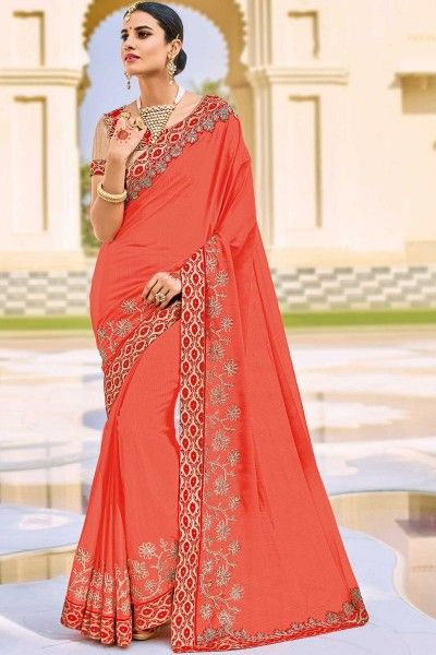 Embellished Function Wear Peach Saree with Lace Border In Chiffon