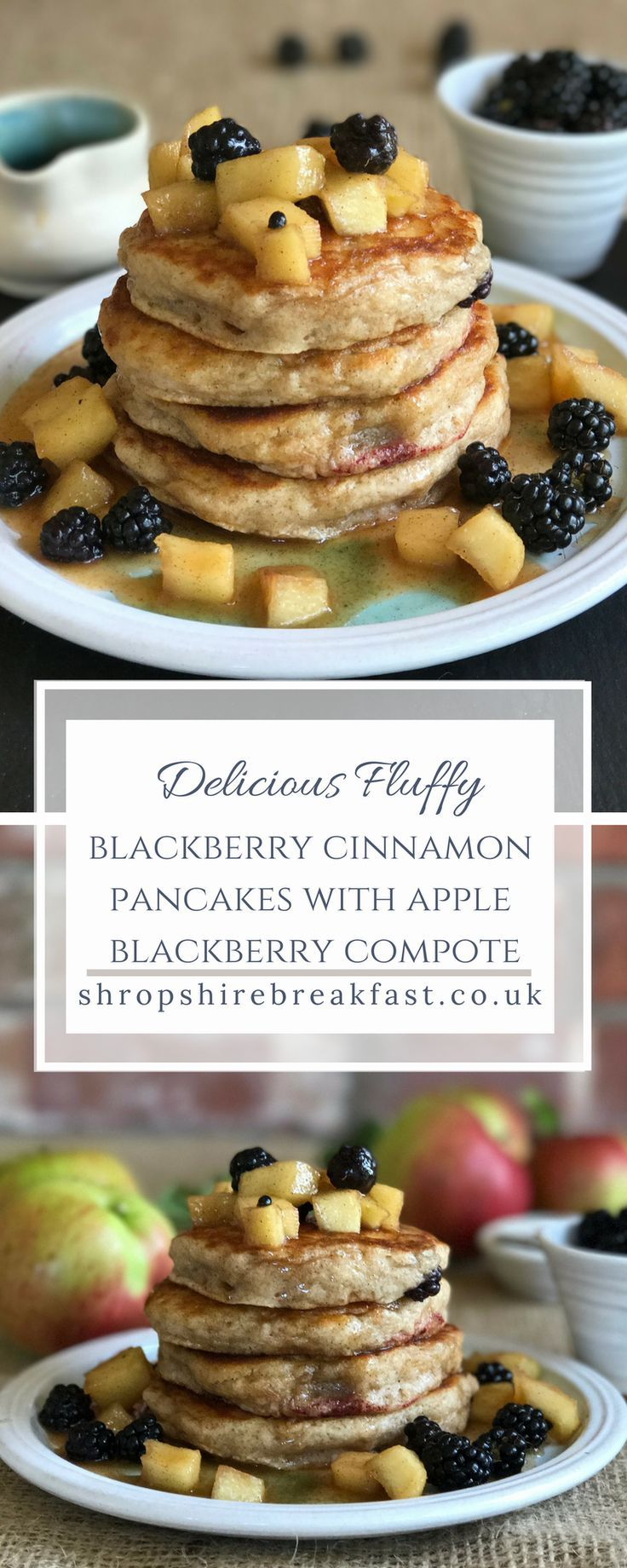 Delicious, fluffy blackberry pancakes with an apple blackberry compote | a perfect autumn recipe for using up a glut of apples and blackberries #apples #autumn # recipes