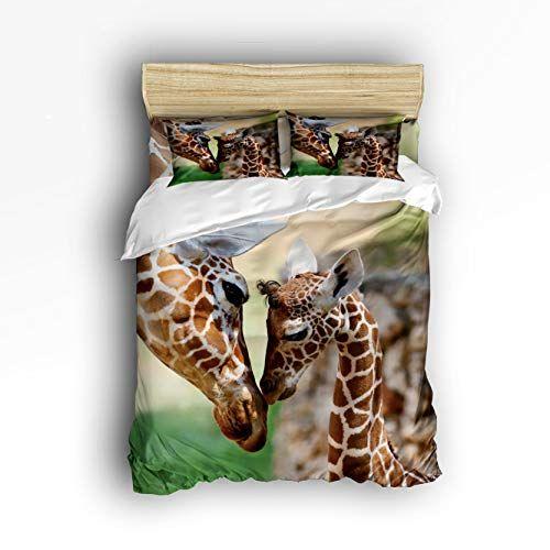 Valenake Luxury 4pc Duvet Cover Set Giraffes Snuggling With Each