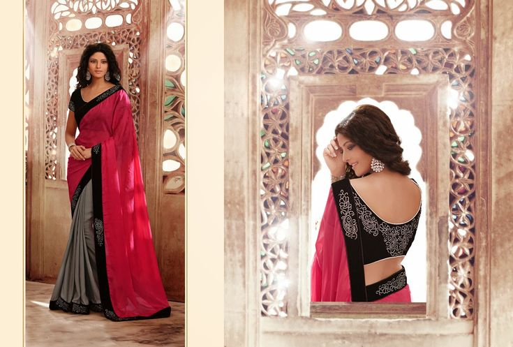 Buy Pink and Silver Half n Half Party Wear Saree 35514  with blouse online at lowest price from vast collection of sarees at m.indianclothstore.c.
