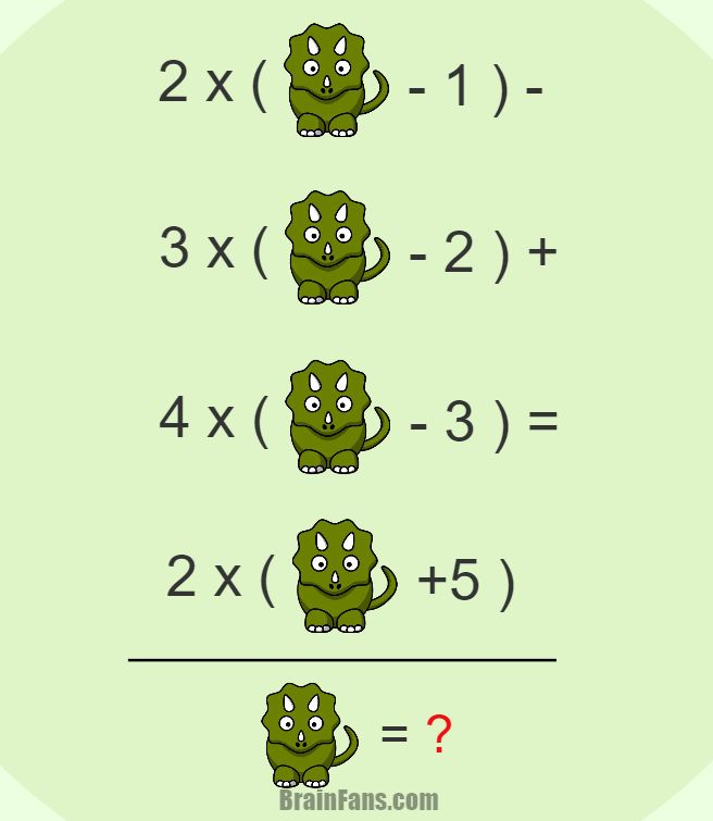 Brain teaser - Number And Math Puzzle - Equation with a triceratops - Find the value of a triceratops so the equation is correct.