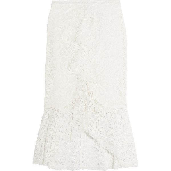 Alexis - Marcello Ruffled Corded Lace Midi Skirt ($208) ❤ liked on Polyvore featuring skirts, ivory, travel skirt, flounce skirt, white ruffle skirt, lace skirt and print skirt