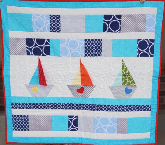 Nautical sail boat quilt BABYQUILTS 4 Pinterest Sail boats, Kid quilts and Sewing ideas