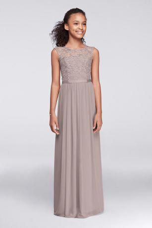 91c571c09 Cap Sleeve Lace and Mesh Long Girls Dress JB9479  #bluebridesmaiddressesflowing