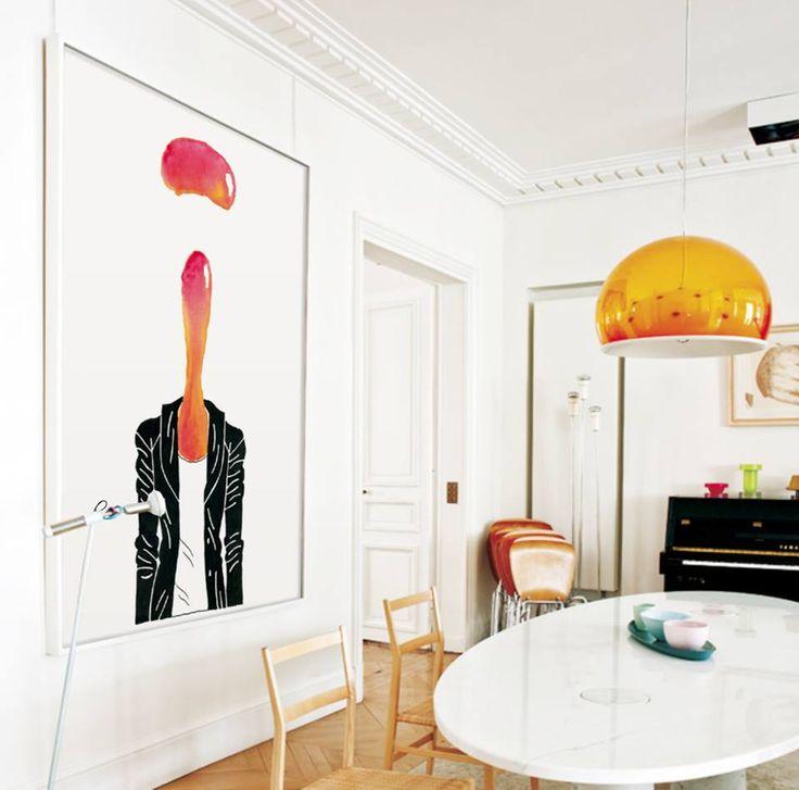 """¡GRANDES FORMATOS!  Sorprendentemente los formatos a gran escala pueden funcionar bien tanto en espacios pequeños como en grandes salas como esta Lamina """"Beautiful Woman II"""" de Don Pedro en este fantástico comedor. www.latiendadeldesvan.es"""