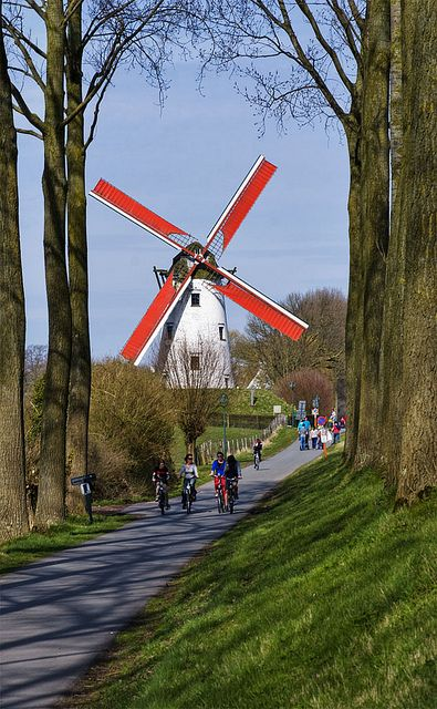 Red and White Windmill - Bike path between Bruges and Damme, Belgium