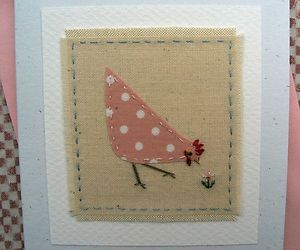 Hand-stitched card by Helen Drewett PRETTY CHICKEN see more designs in my shop! | eBay