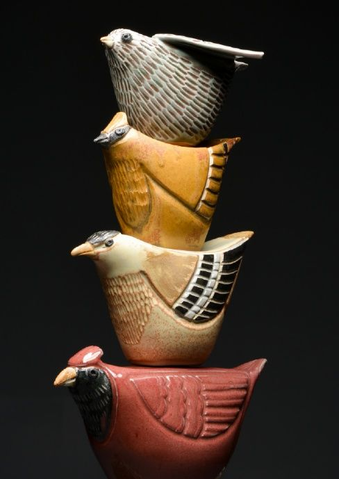 ceramic garden totem art...I want to make one for the back garden! Thinking of using terracotta or sculpey...                                                                                                                                                      More