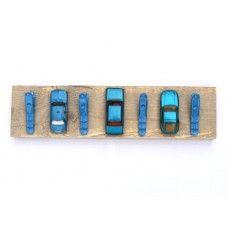 Steigerhout kinder kapstok met 3 blauwe auto's - Kapstokken