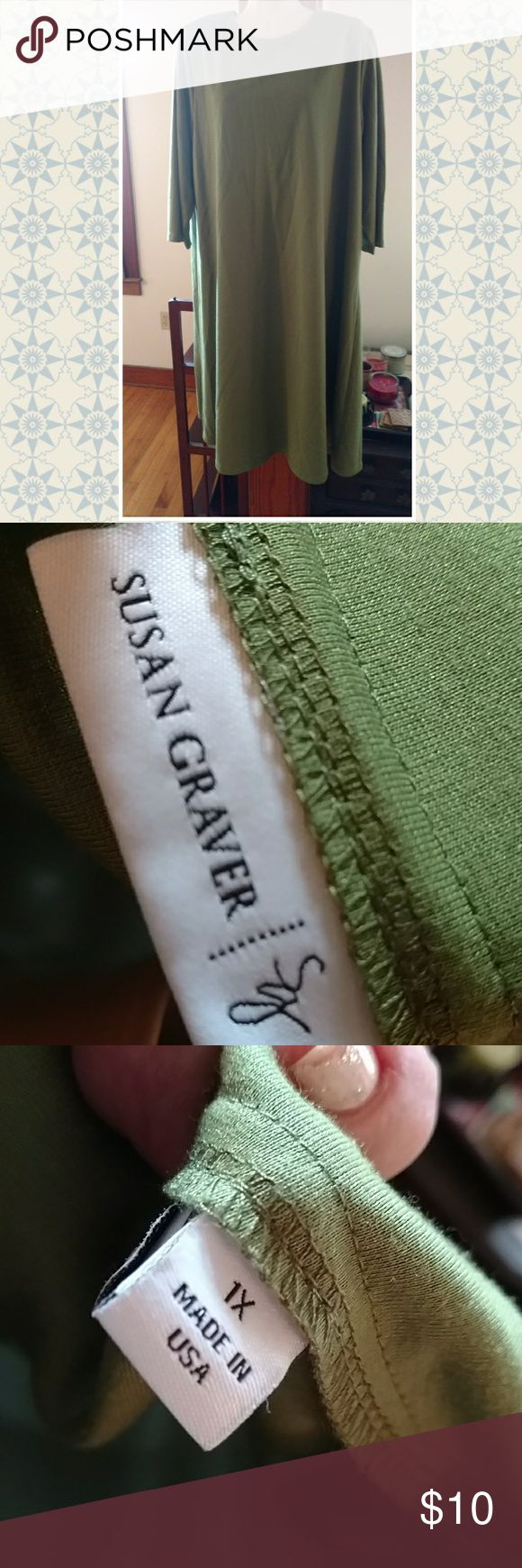 Susan graver 1x dress Lighter olive dress w 3/4 sleeves. Sz 1x Susan Graver Dresses