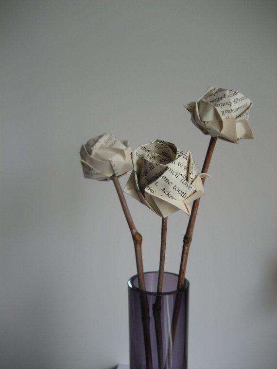 Rose bouquet-vecchio libro origami rose con giorno di Meiorigami