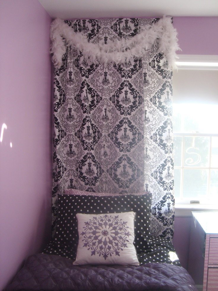 Black, White And Purple Bedroomu2014Curtain Headboard.