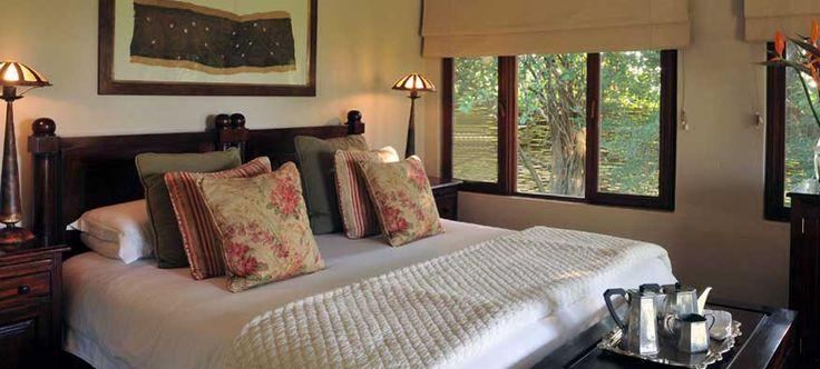 Luxury Suite bedroom at Savanna Private Game Reserve, Sabi Sands. http://www.pridelodges.com/index.php/game-lodges/luxury/savanna/