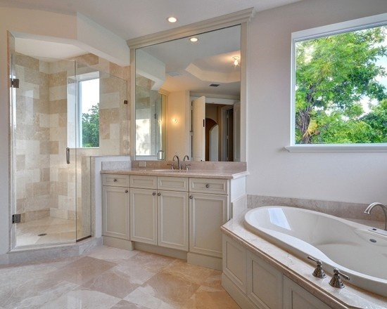 Bathroom Corner Tub Design--installation design (knobs on outside for easy access, but faucet on back side to not get in the way for entry/exit)