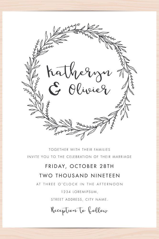 Modern Black And White Wedding Invitation Card Template Decorate With Wedding Invitation Card Template Wedding Invitations Black And White Wedding Invitations