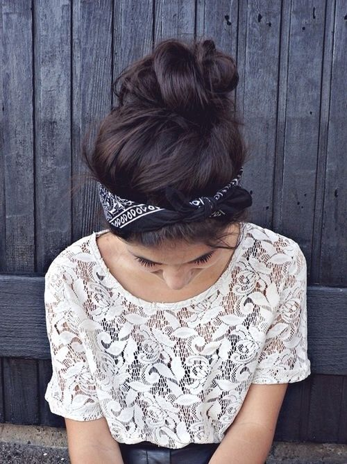 Lace top with retro bandana