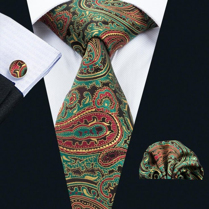 LS-1670 Barry.Wang 2017 New Men`s Tie Set Silk Gravata Paisley Necktie Hanky Cufflinks For Wedding Business Party Free Shipping