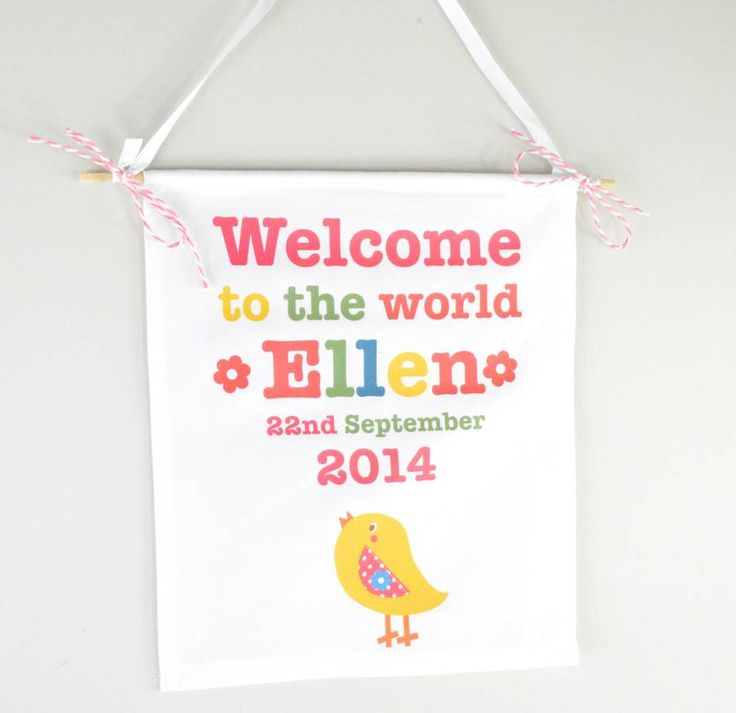 Girls Personalised New Baby Sign