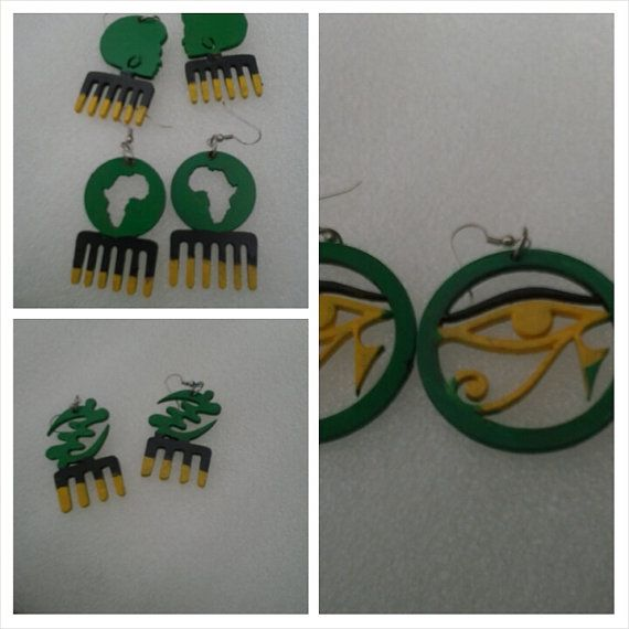 2  inch earrings JAMAICAN COLORS by AnkaraStyles2014 on Etsy, $14.00