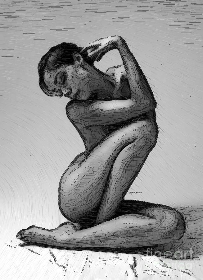 Black And White Woman Sketch Digital Art by Rafael Salazar