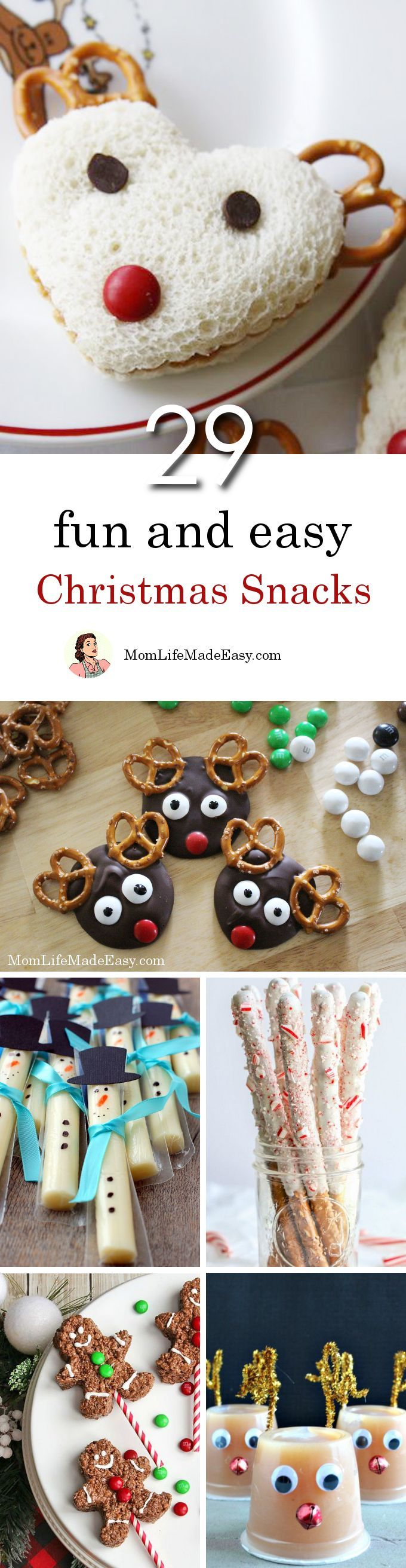 Creating fun Christmas snacks for kids shouldn't take hours of work. Here are 29 quick and easy holiday treats that are perfect for lunches, classroom parties, or just because!