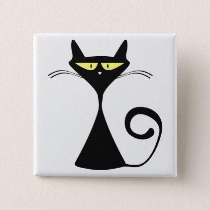 Black Cat Cartoon Silhouette Pinback Button - diy cyo customize create your own personalize