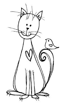 Magenta - Cling Rubber Stamp - Doodle Heart Cat & Bird