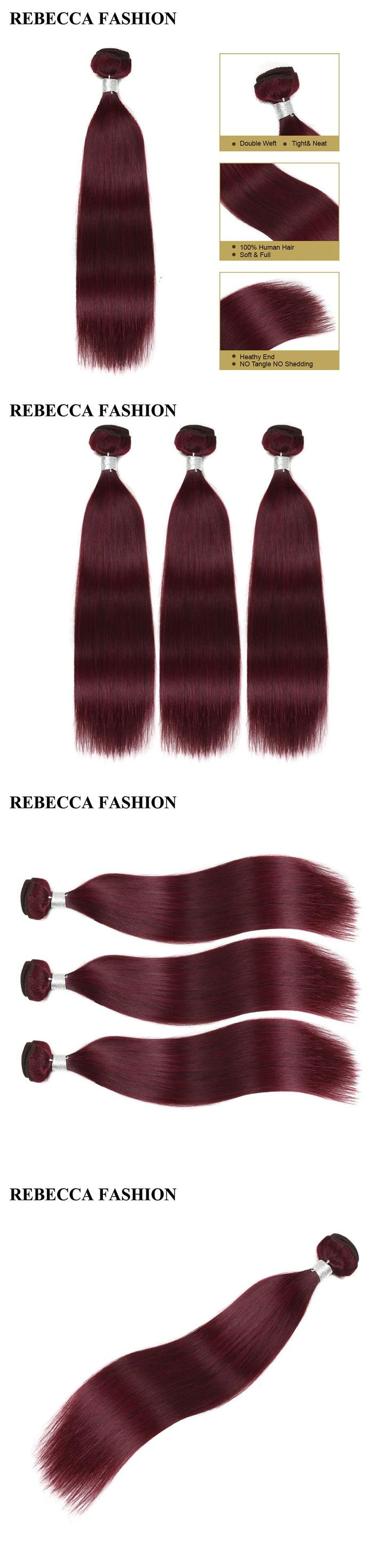 Rebecca Remy Human Hair Bundles Wine Red Hair Weave 3 Bundles Brazilian Straight Hair 3 Bundles 99j Salon Hair Extensions