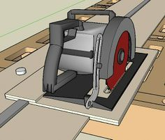 Circular saw rail guide system Possibly remove some of the excess to refine it. Could be made from MDF.