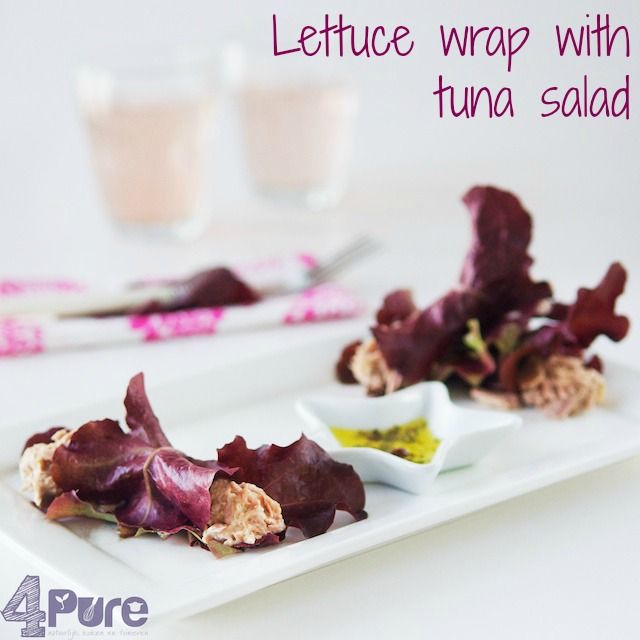 Lettuce wrap with tuna salad This summer wrap is healthy, quick and easy to prepare snack. The tasteful and creamy tuna salad rolled in a crispy lettuce leaf is a great appetizer for sunny days! #appetizer #snack #fast #simple #healthy #slim #lettuce #tuna #summer #wrap #buffet #4pure http://www.4pure.nl