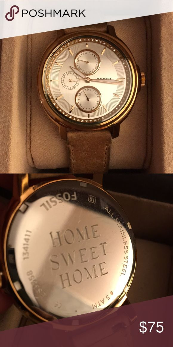 """🎉 4 DAY SALE 🎉 Rose Gold """"Chelsey"""" Fossil watch. In good condition. Engraved: HOME SWEET HOME on case. Will include free interchangeable strap with watch. Fossil Accessories Watches"""