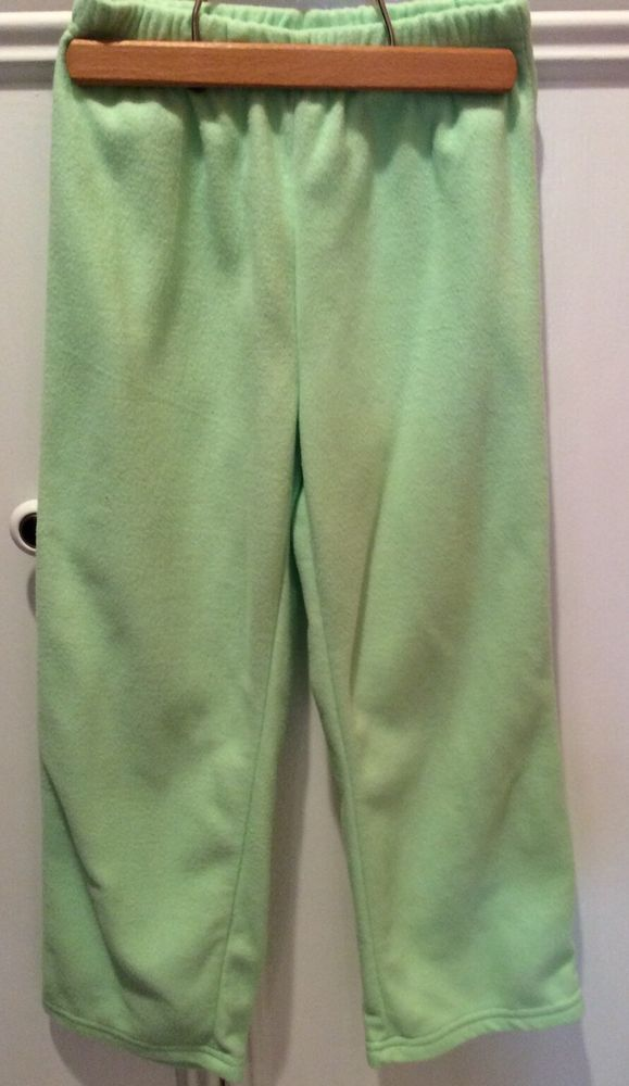 Girls 6 6X Lime Green SOFT 100% Polyester Fleece Flame Resistant Pants NWOT #CasualPants #Everyday