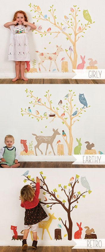 Wall Decals Woodland Reusable and removable fabric by lovemaestore, $235.00