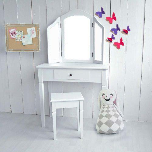 Kinder Schminktisch ANABELLA, 3 Spiegel, Weiß, Breite 80cm