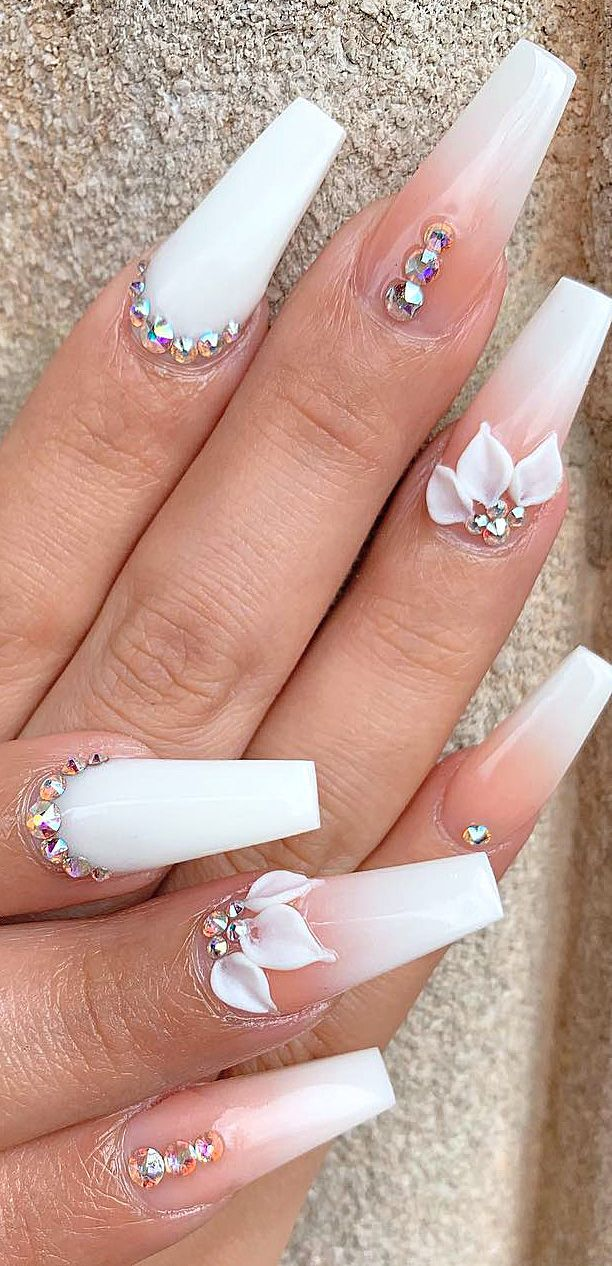 45 Polished And Matte Acrylic Nail Designs In 2020 Long White Nails Ombre Acrylic Nails White Acrylic Nails