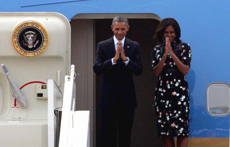 The Obamas depart New Delhi on Jan. 27, 2015, for Saudi Arabia.