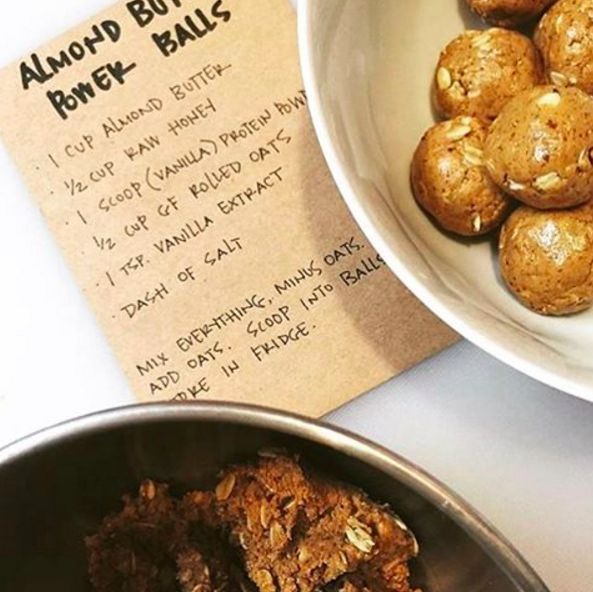 Almond Butter Power Balls shared by lyndsayruns. 1 cup almond butter, 1/2 cup honey, 1 scoop Perfect Fit Protein, 1/2 cup rolled oats, 1 tsp vanilla extract, dash of salt. Mix everything together. Add in oats. Roll into balls and store in the refrigerator. Enjoy!