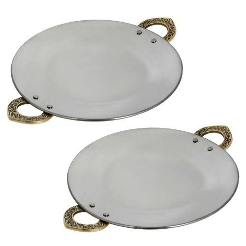 Serveware Utensil Set of Two Tawa, Tray and Platter for Indian Dishes 8 Inches ShalinIndia http://www.amazon.in/dp/B00JE34PYG/ref=cm_sw_r_pi_dp_xDxaub13DPC1X