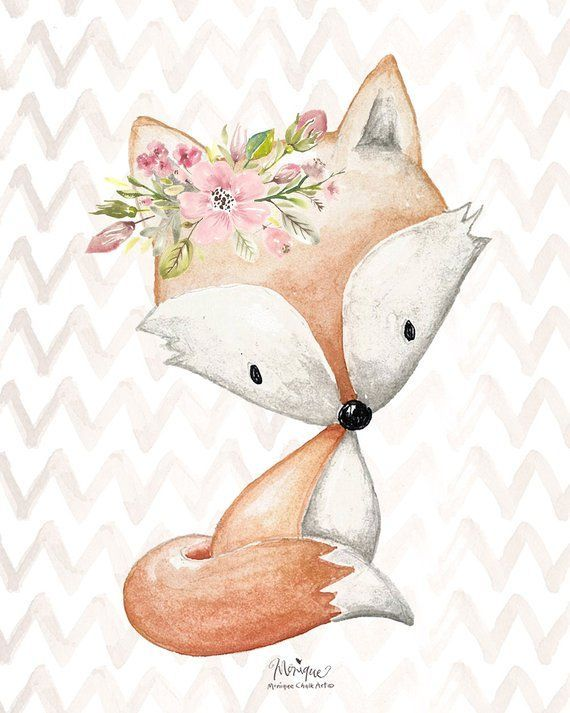 Nursery Woodland Animals Print Watercolor, set of …