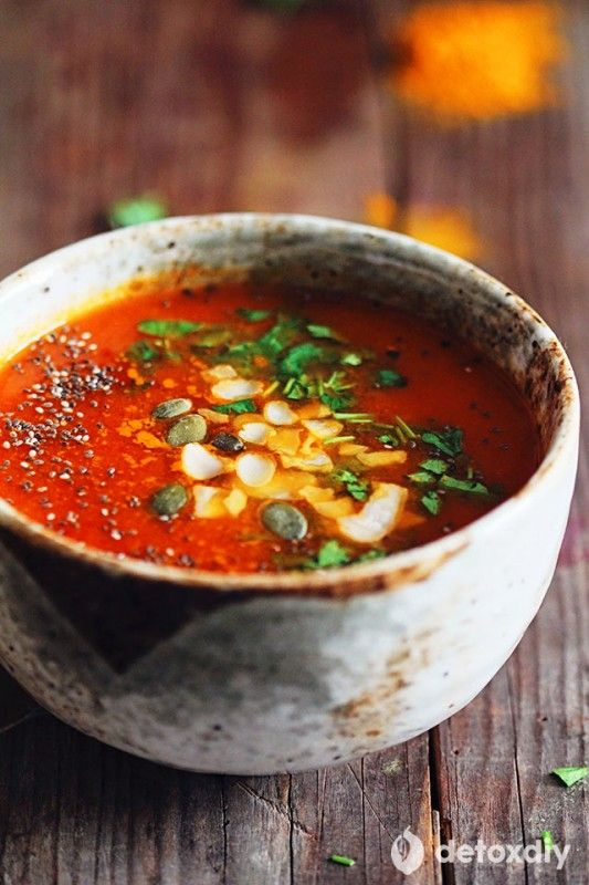 Turmeric Tomato Detox Soup- I love this cleansing soup! It makes you feel energi…