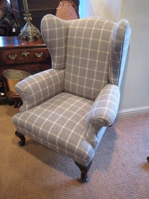 STYLISH GEORGE III UPHOLSTERED WING ARMCHAIR