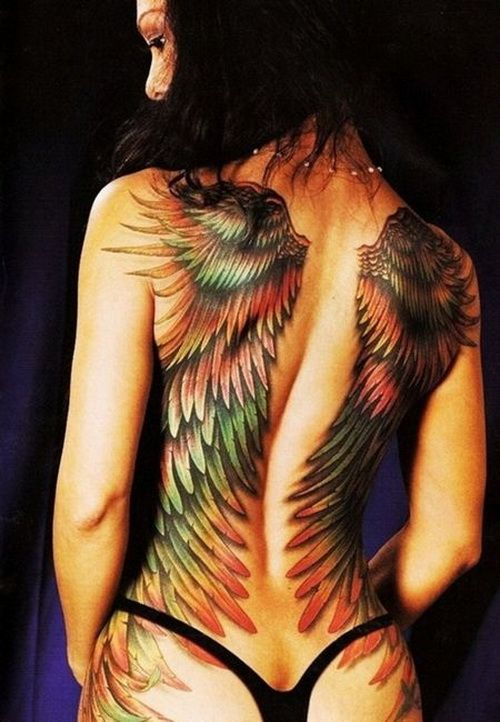 wings full back tattoos Full Back Tattoos For Men and Women I really like these wings and the colors are so bright