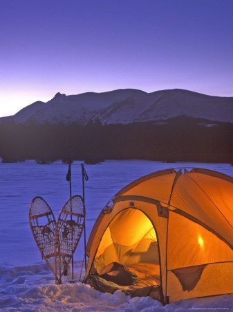 Winter Camping with Snowshoes, we want to try this!! CRAZY....