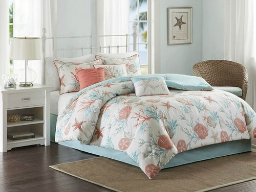 For a beautiful coastal update, infused with our favorite shades of aqua and coral,  the Pebble Beach 7-piece King Size Comforter Set will be perfect for your beach bedroom.